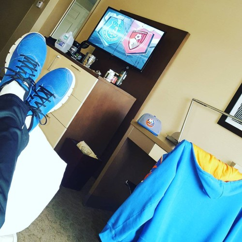 In my hotel room getting ready for the game! Letsgoislandershellip