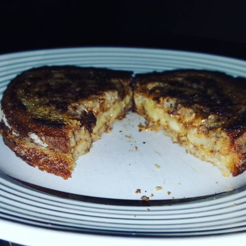 Grilled almond butter and banana sandwich on organic dark wheat!hellip