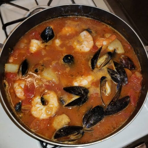Homemade fresh seafood stew! freashcatch thrasher mussels shrimp potatos tomatoeshellip
