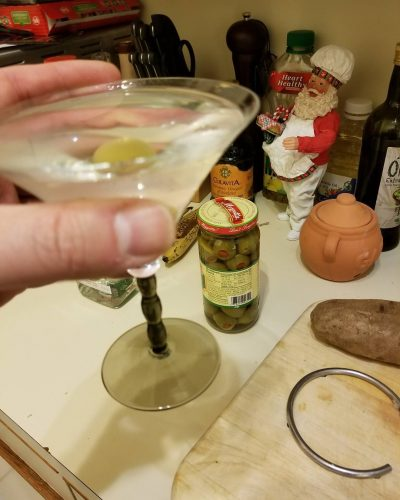 Potato  olives  martini Happy December! cocktailhourhasbegun