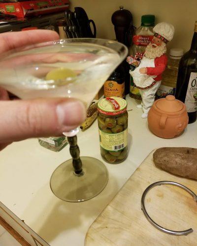 Potato  olives  martini Happy December! cocktailhourhasbegun